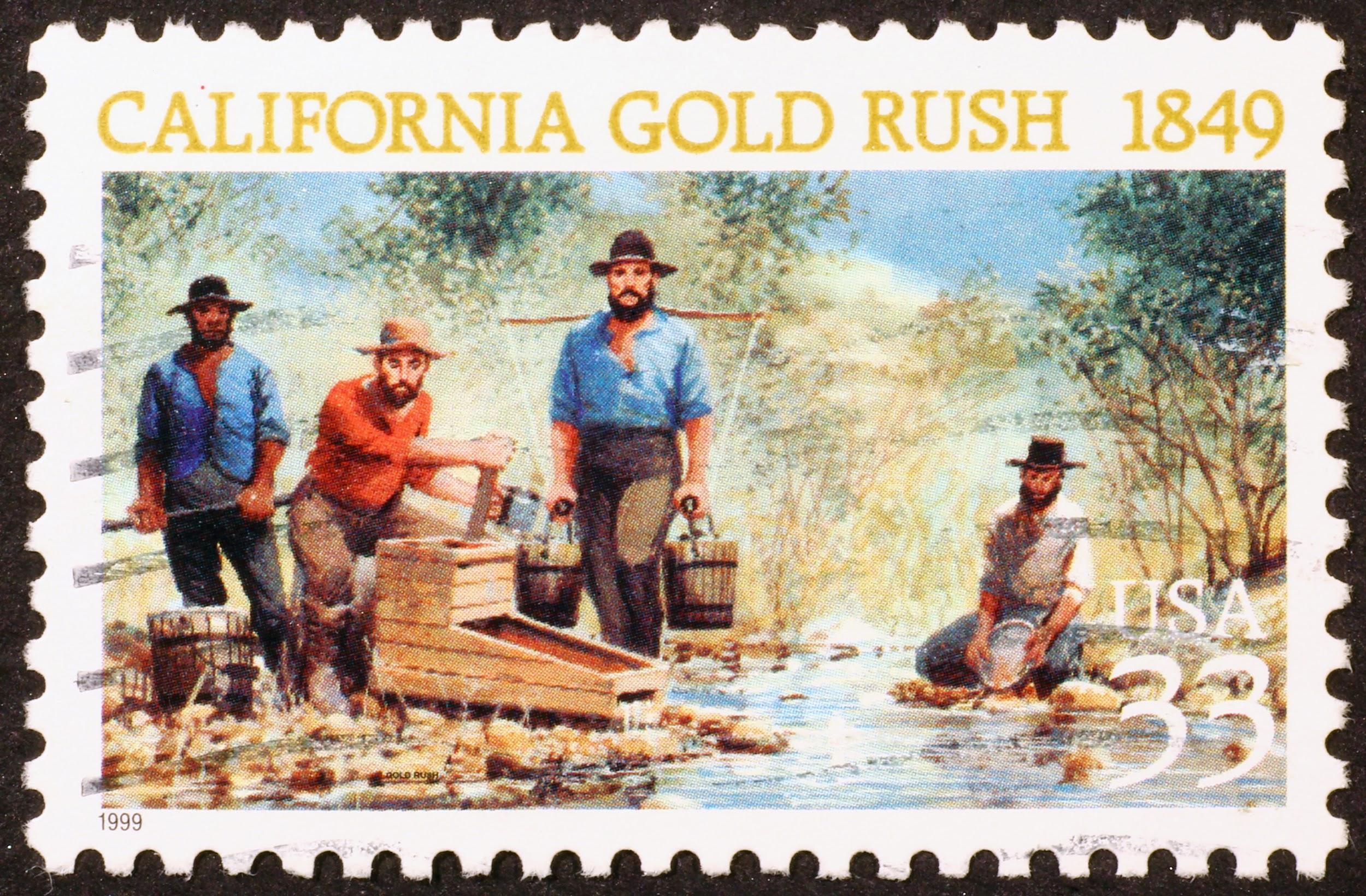 A stamp celebrating the California Gold Rush of 1849.